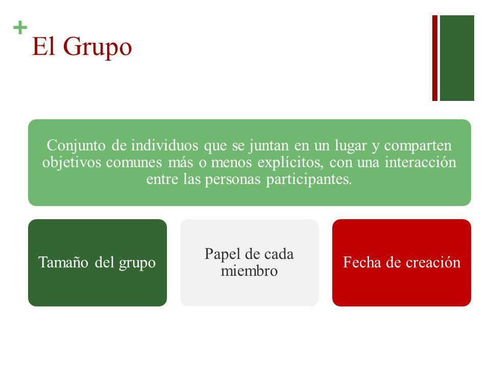+ El Grupo Conjunto de individuos que se juntan en un lugar y comparten objetivos comunes más o menos explícitos, con una interacción entre las personas participantes.