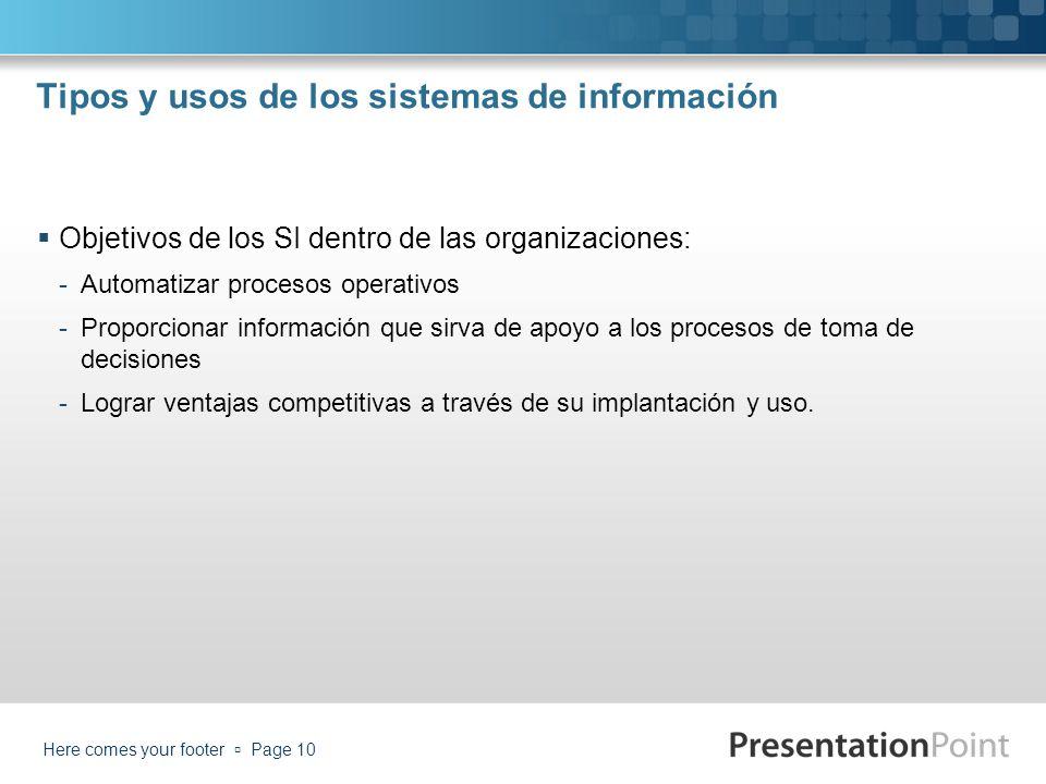 Tipos y usos de los sistemas de información Objetivos de los SI dentro de las organizaciones: -Automatizar procesos operativos -Proporcionar informaci
