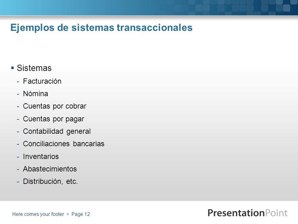 Ejemplos de sistemas transaccionales Sistemas -Facturación -Nómina -Cuentas por cobrar -Cuentas por pagar -Contabilidad general -Conciliaciones bancar