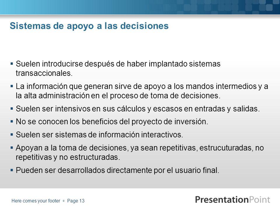 Sistemas de apoyo a las decisiones Suelen introducirse después de haber implantado sistemas transaccionales. La información que generan sirve de apoyo