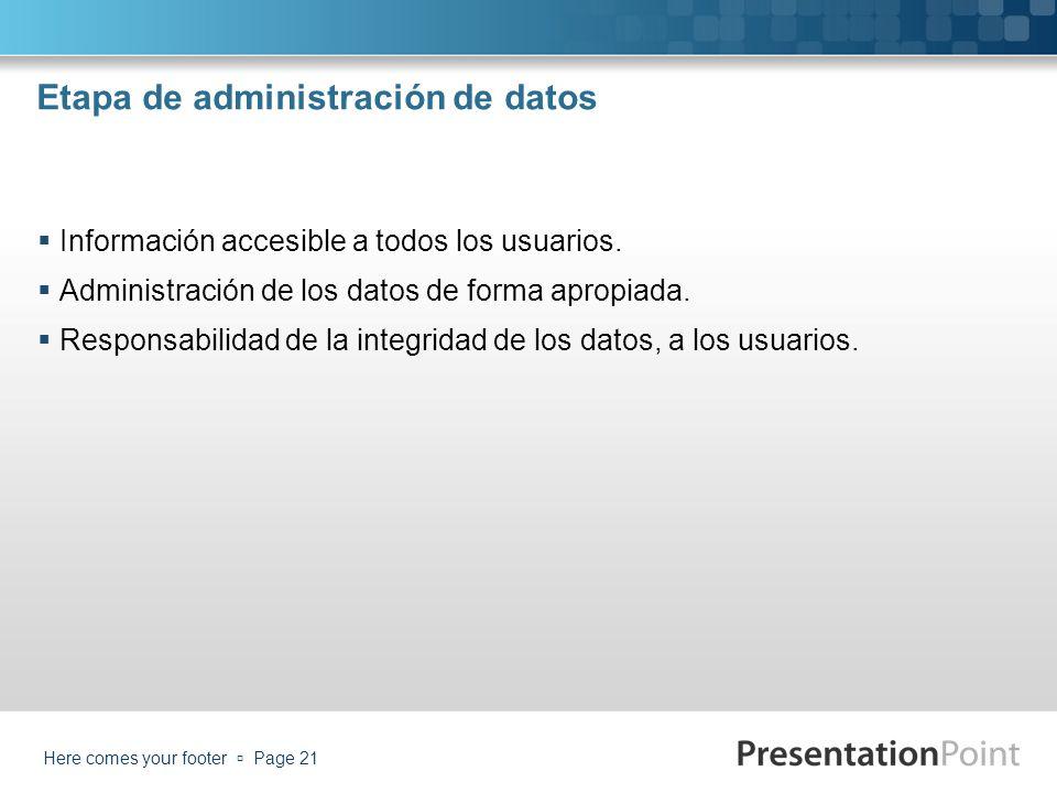 Etapa de administración de datos Información accesible a todos los usuarios. Administración de los datos de forma apropiada. Responsabilidad de la int
