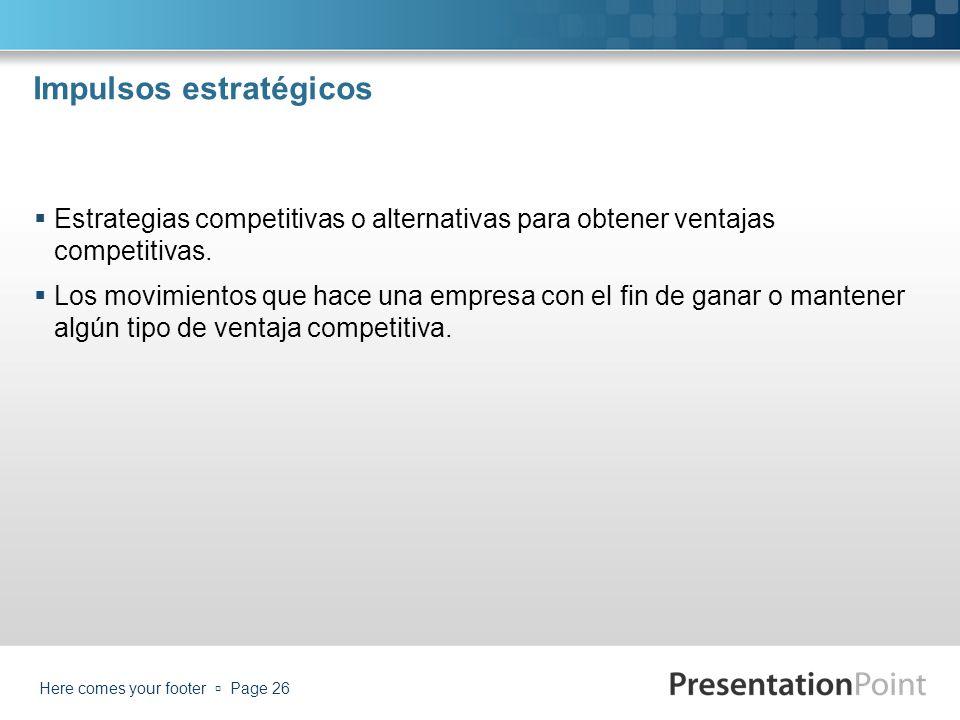 Impulsos estratégicos Estrategias competitivas o alternativas para obtener ventajas competitivas. Los movimientos que hace una empresa con el fin de g