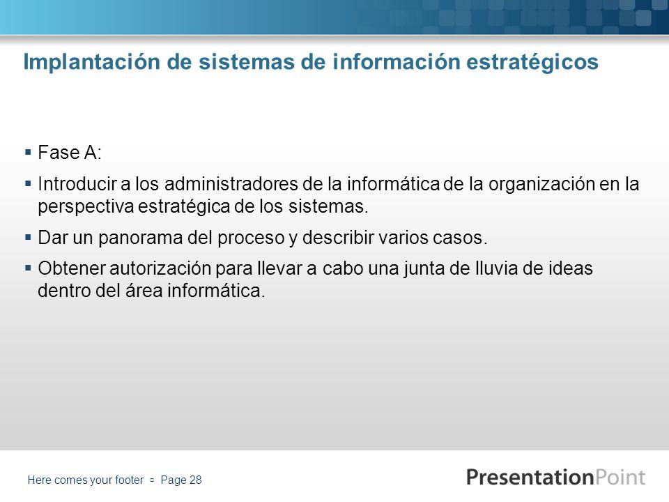 Implantación de sistemas de información estratégicos Fase A: Introducir a los administradores de la informática de la organización en la perspectiva e