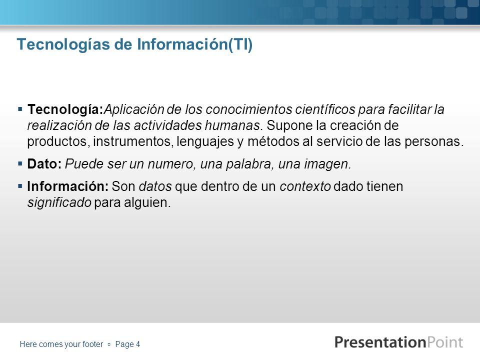 Tecnologías de Información(TI) Tecnología:Aplicación de los conocimientos científicos para facilitar la realización de las actividades humanas. Supone