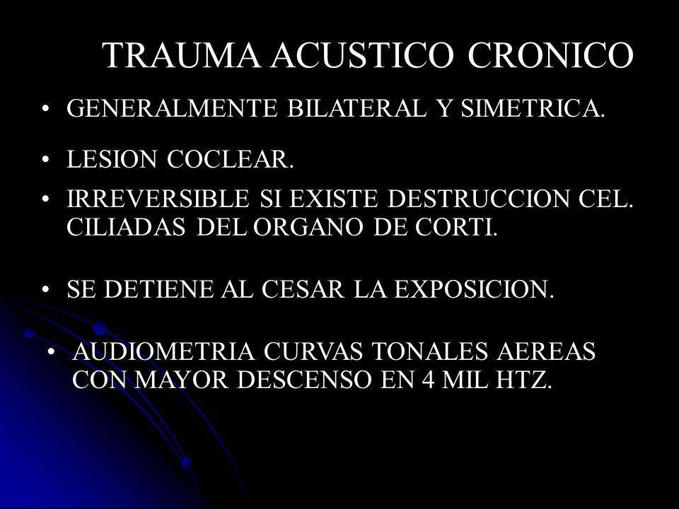 TRAUMA ACUSTICO CRONICO LESION COCLEAR. GENERALMENTE BILATERAL Y SIMETRICA. IRREVERSIBLE SI EXISTE DESTRUCCION CEL. CILIADAS DEL ORGANO DE CORTI. SE D