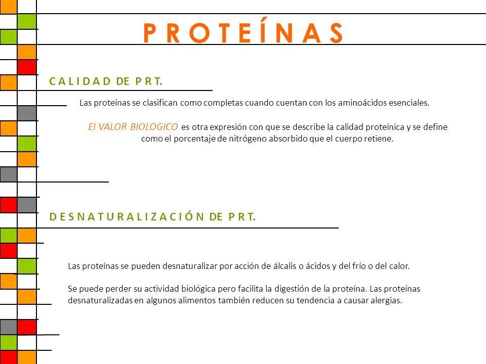 P R O T E Í N A S C A L I D A D DE P R T. Las proteínas se clasifican como completas cuando cuentan con los aminoácidos esenciales. El VALOR BIOLOGICO