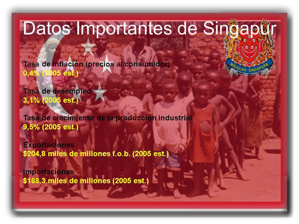 Datos Importantes de Singapur Tasa de inflación (precios al consumidor) 0,4% (2005 est.) Tasa de desempleo 3,1% (2005 est.) Tasa de crecimiento de la