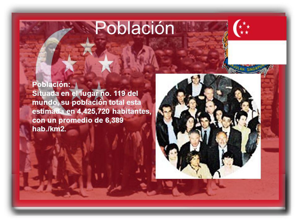 Población Población: Situada en el lugar no. 119 del mundo, su población total esta estimada en 4,425,720 habitantes, con un promedio de 6,389 hab./km