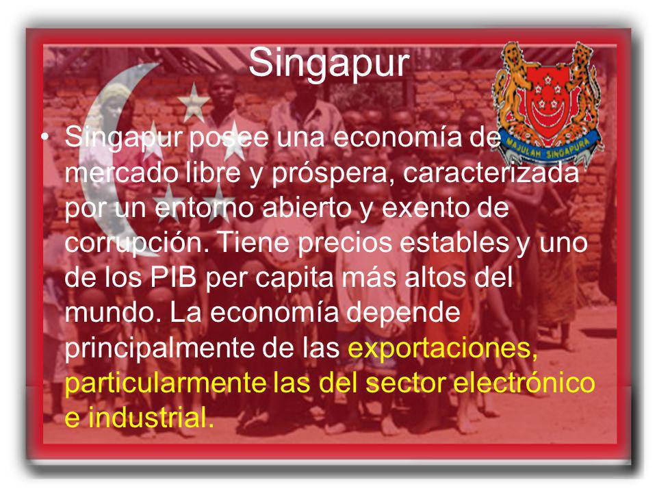 Singapur Singapur posee una economía de mercado libre y próspera, caracterizada por un entorno abierto y exento de corrupción. Tiene precios estables