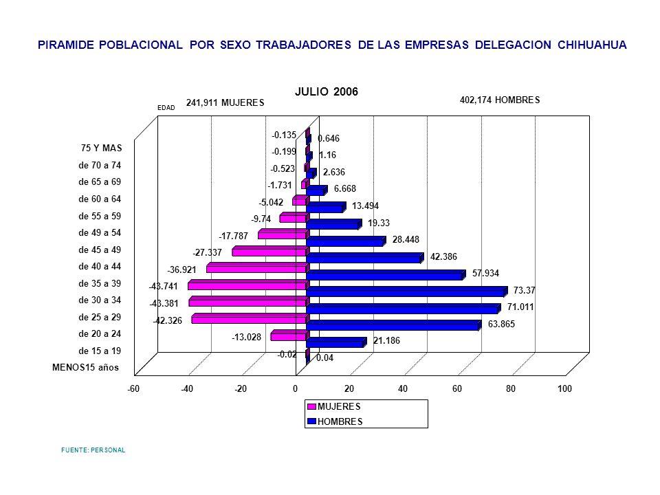 PIRAMIDE POBLACIONAL POR SEXO TRABAJADORES DE LAS EMPRESAS DELEGACION CHIHUAHUA JULIO 2006 FUENTE: PERSONAL -0.135 -0.199 -0.523 -1.731 -5.042 -9.74 -