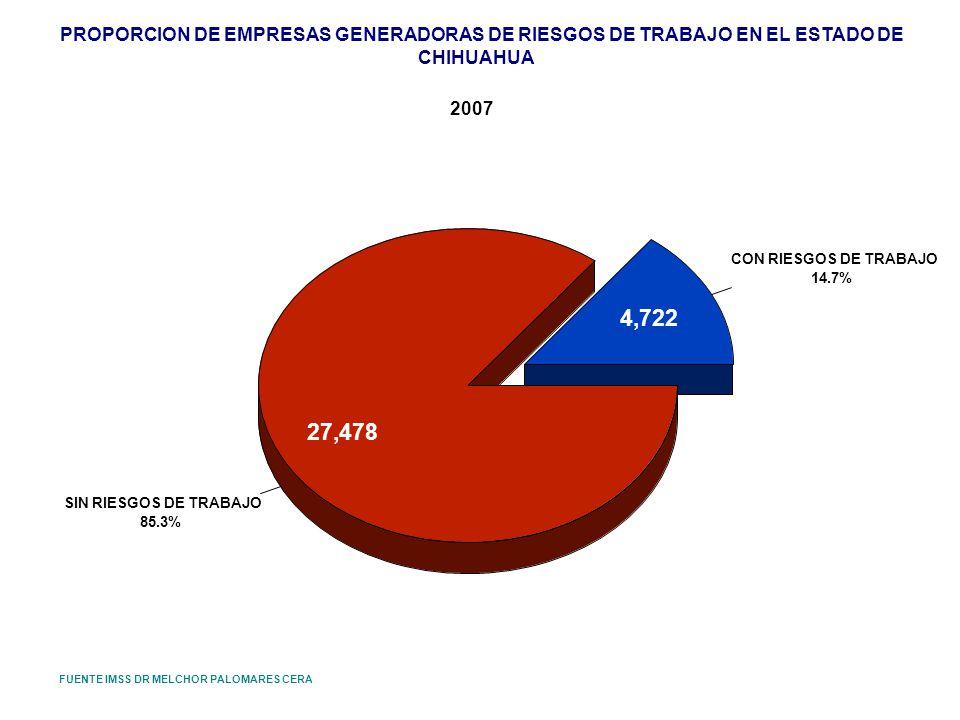 PROPORCION DE EMPRESAS GENERADORAS DE RIESGOS DE TRABAJO EN EL ESTADO DE CHIHUAHUA 2007 FUENTE IMSS DR MELCHOR PALOMARES CERA CON RIESGOS DE TRABAJO 1