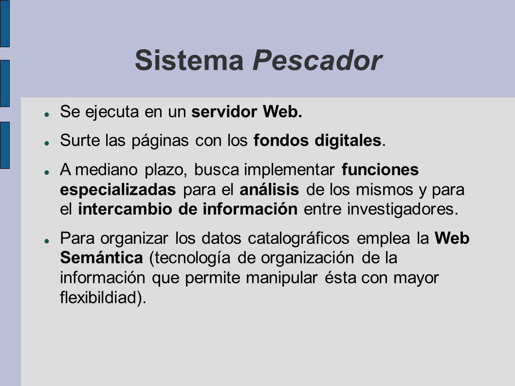 Sistema Pescador Se ejecuta en un servidor Web. Surte las páginas con los fondos digitales.