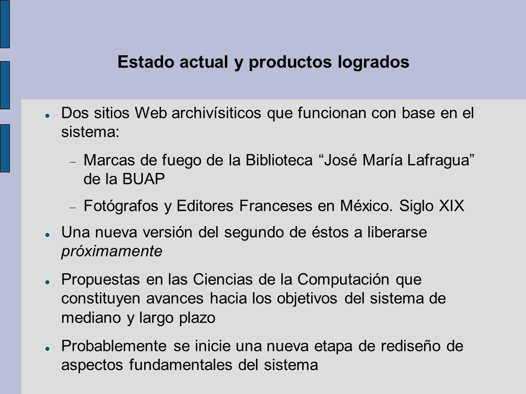 Estado actual y productos logrados Dos sitios Web archivísiticos que funcionan con base en el sistema: Marcas de fuego de la Biblioteca José María Lafragua de la BUAP Fotógrafos y Editores Franceses en México.