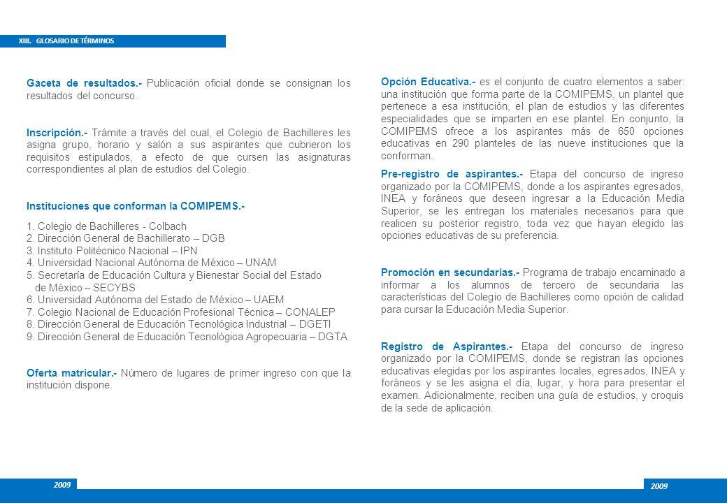 XIII. GLOSARIO DE TÉRMINOS Opción Educativa.- es el conjunto de cuatro elementos a saber: una institución que forma parte de la COMIPEMS, un plantel q