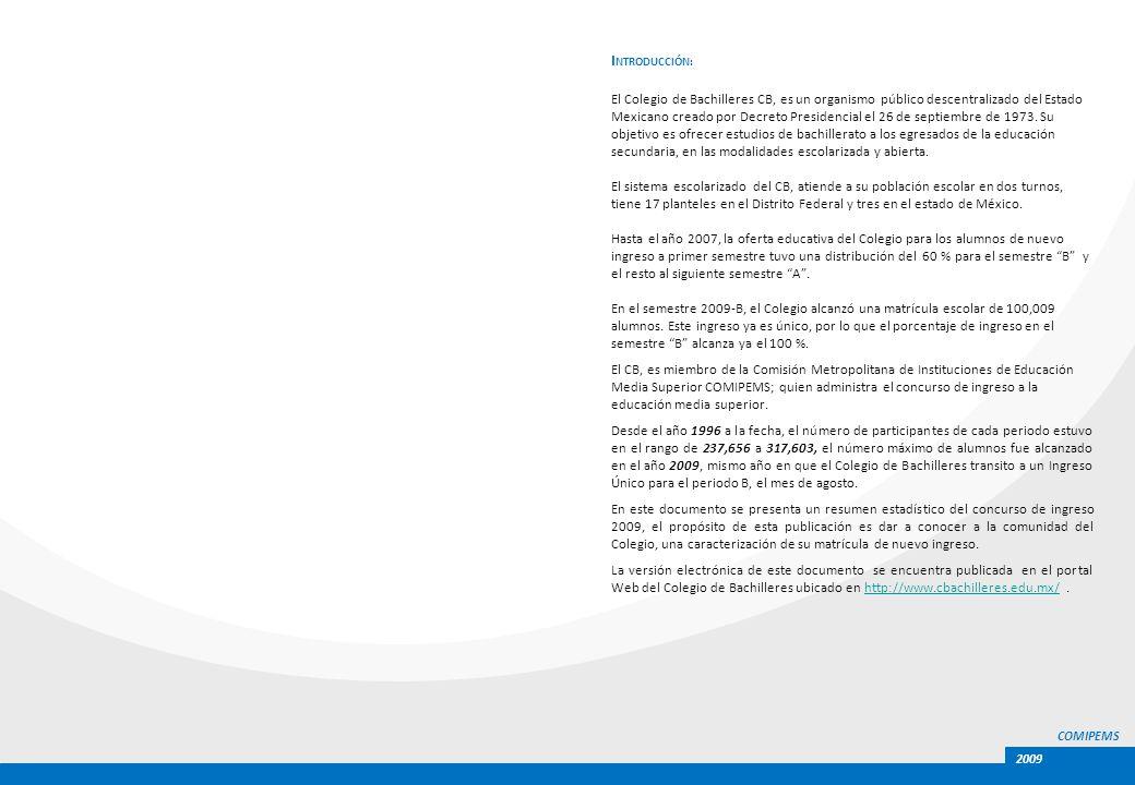 COMIPEMS 2009 I NTRODUCCIÓN: El Colegio de Bachilleres CB, es un organismo público descentralizado del Estado Mexicano creado por Decreto Presidencial