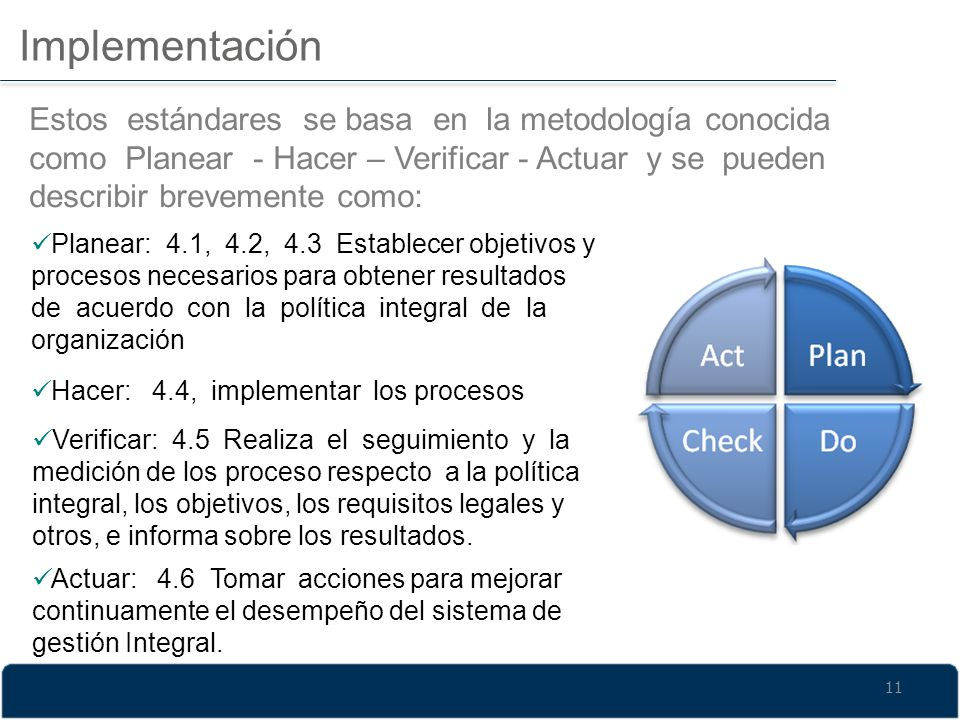 Implementación Estos estándares se basa en la metodología conocida como Planear - Hacer – Verificar - Actuar y se pueden describir brevemente como: Pl