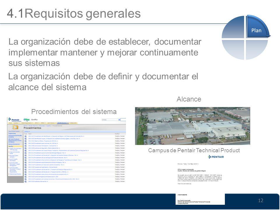 4.1Requisitos generales La organización debe de establecer, documentar implementar mantener y mejorar continuamente sus sistemas La organización debe