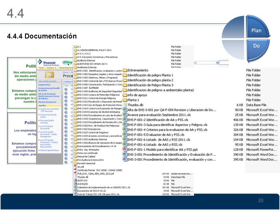 20 4.4 4.4.4 Documentación