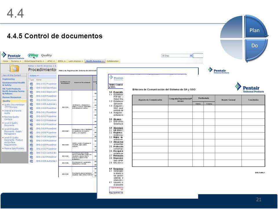21 4.4 4.4.5 Control de documentos