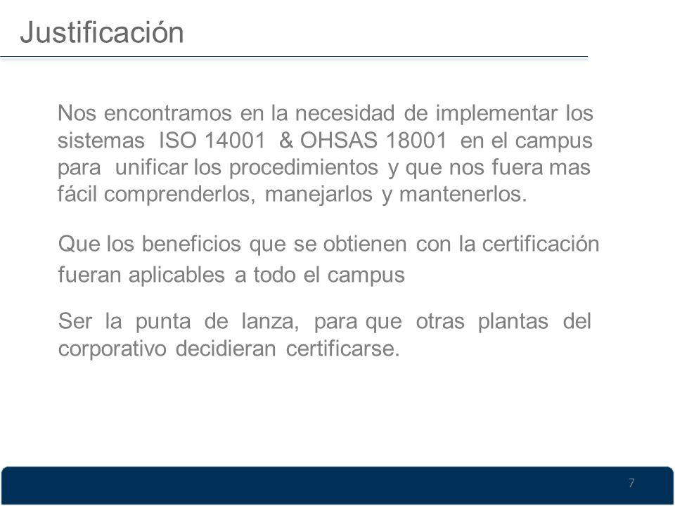 Justificación Nos encontramos en la necesidad de implementar los sistemas ISO 14001 & OHSAS 18001 en el campus para unificar los procedimientos y que
