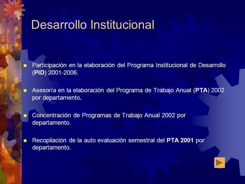 Desarrollo Institucional Participación en la elaboración del Programa Institucional de Desarrollo (PID) 2001-2006. Asesoría en la elaboración del Prog