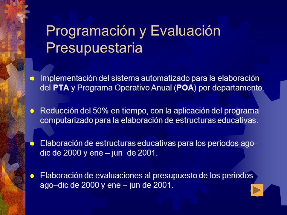 Programación y Evaluación Presupuestaria Implementación del sistema automatizado para la elaboración del PTA y Programa Operativo Anual (POA) por depa
