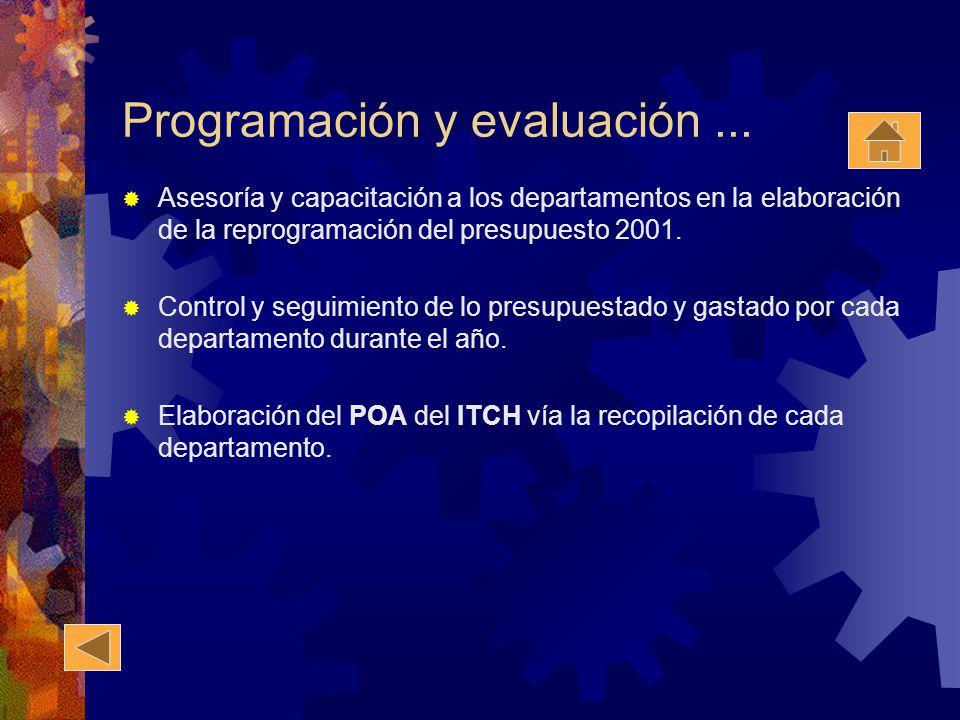 Programación y evaluación... Asesoría y capacitación a los departamentos en la elaboración de la reprogramación del presupuesto 2001. Control y seguim