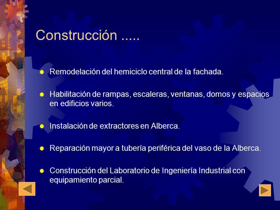 Construcción..... Remodelación del hemiciclo central de la fachada. Habilitación de rampas, escaleras, ventanas, domos y espacios en edificios varios.
