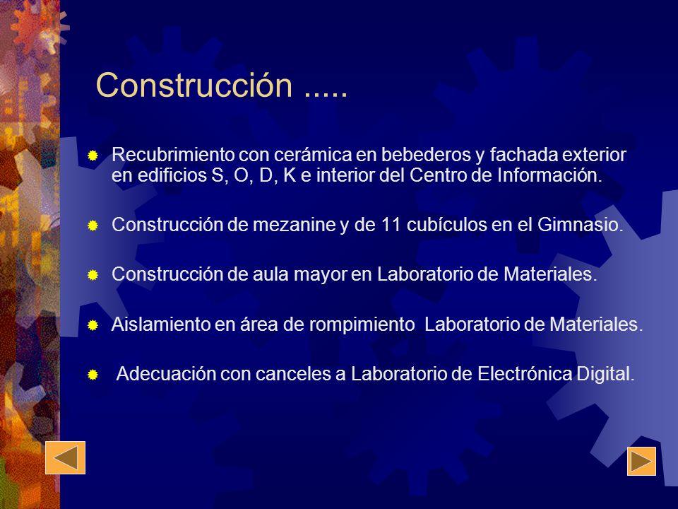 Construcción..... Recubrimiento con cerámica en bebederos y fachada exterior en edificios S, O, D, K e interior del Centro de Información. Construcció