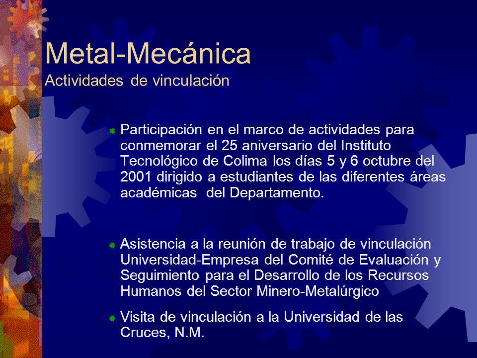 Metal-Mecánica Actividades de vinculación Participación en el marco de actividades para conmemorar el 25 aniversario del Instituto Tecnológico de Colima los días 5 y 6 octubre del 2001 dirigido a estudiantes de las diferentes áreas académicas del Departamento.