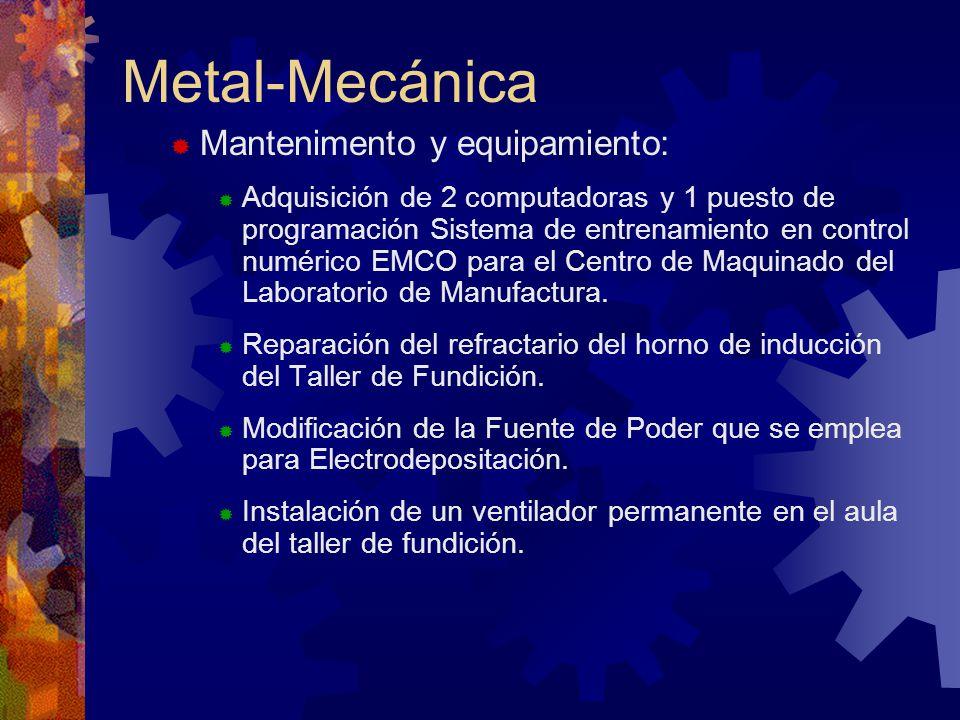 Metal-Mecánica Mantenimento y equipamiento: Adquisición de 2 computadoras y 1 puesto de programación Sistema de entrenamiento en control numérico EMCO para el Centro de Maquinado del Laboratorio de Manufactura.