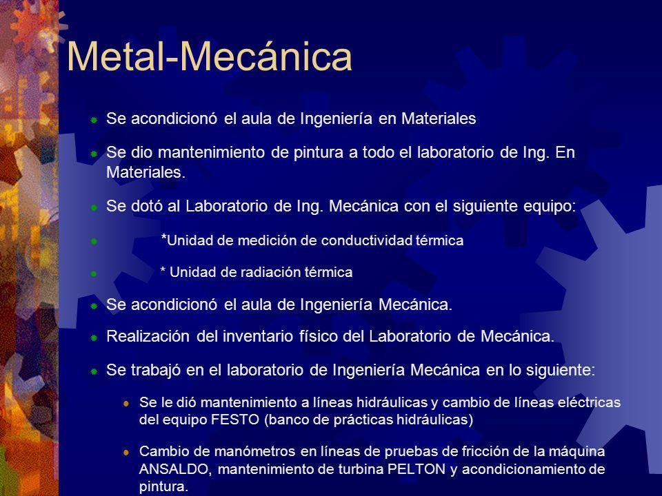 Metal-Mecánica Se acondicionó el aula de Ingeniería en Materiales Se dio mantenimiento de pintura a todo el laboratorio de Ing.