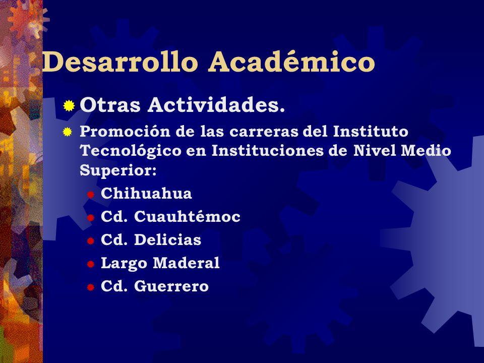 Desarrollo Académico Otras Actividades. Promoción de las carreras del Instituto Tecnológico en Instituciones de Nivel Medio Superior: Chihuahua Cd. Cu