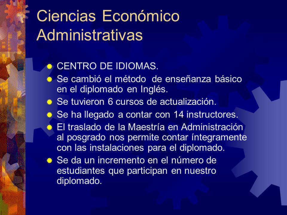 CENTRO DE IDIOMAS. Se cambió el método de enseñanza básico en el diplomado en Inglés. Se tuvieron 6 cursos de actualización. Se ha llegado a contar co