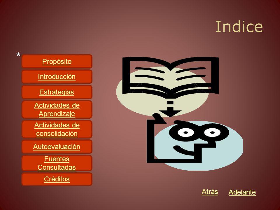 Indice * Propósito Introducción Estrategias Actividades de Aprendizaje Actividades de consolidación Autoevaluación Fuentes Consultadas Créditos Atrás Adelante
