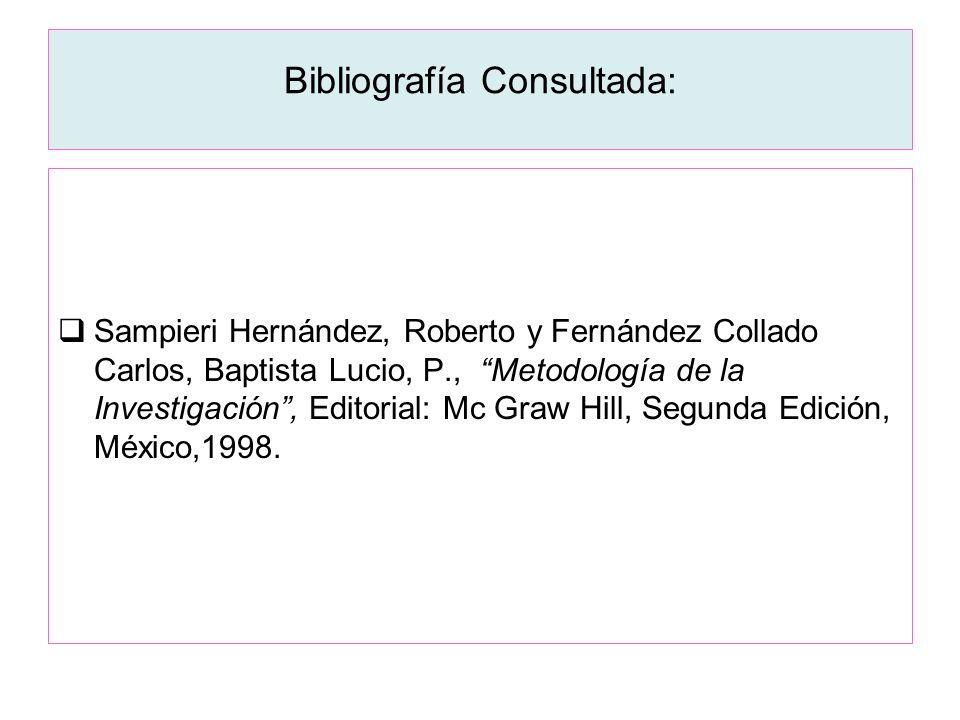 Bibliografía Consultada: Sampieri Hernández, Roberto y Fernández Collado Carlos, Baptista Lucio, P., Metodología de la Investigación, Editorial: Mc Gr