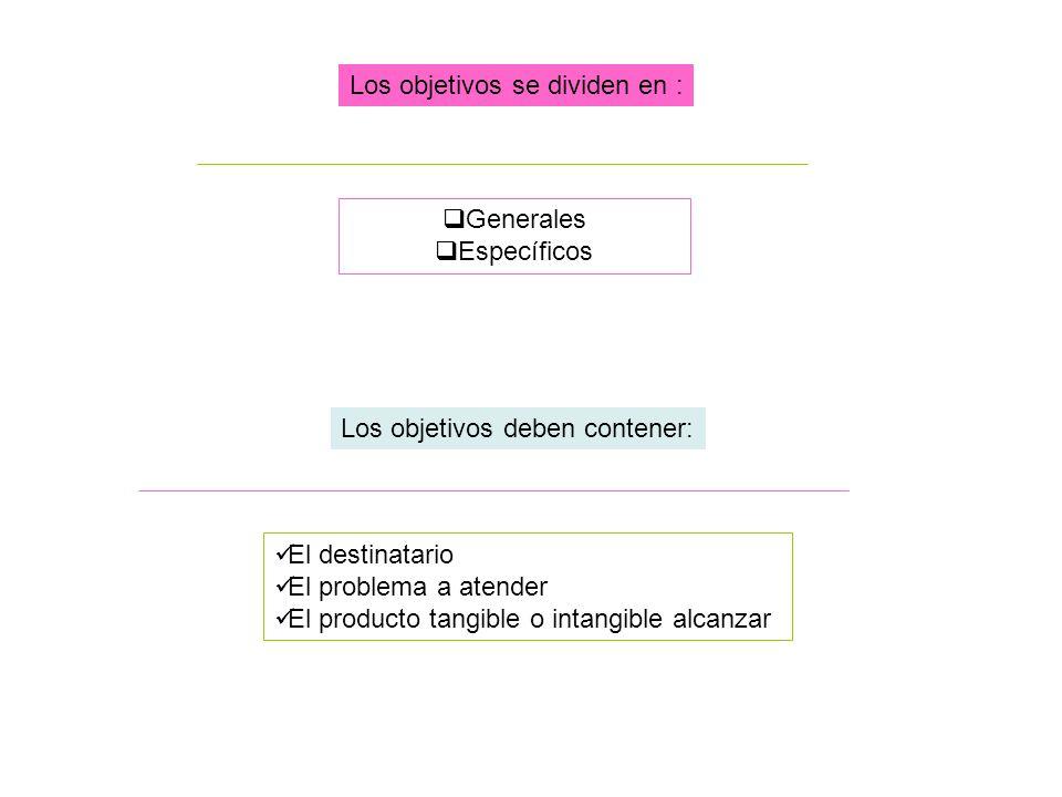 Los objetivos deben contener: El destinatario El problema a atender El producto tangible o intangible alcanzar Los objetivos se dividen en : Generales