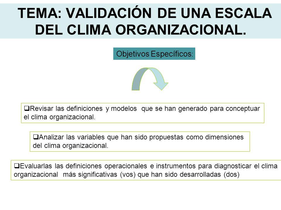 TEMA: VALIDACIÓN DE UNA ESCALA DEL CLIMA ORGANIZACIONAL. Objetivos Específicos : Revisar las definiciones y modelos que se han generado para conceptua