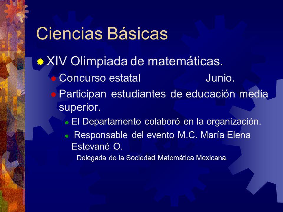 Ciencias Básicas XIV Olimpiada de matemáticas.Concurso estatal Junio.