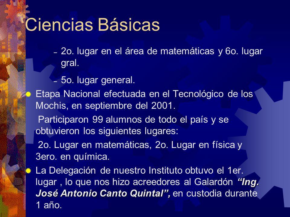 Ciencias Básicas La VIII Semana de Ciencia y Tecnología se llevó a cabo en el mes de noviembre del 2001.