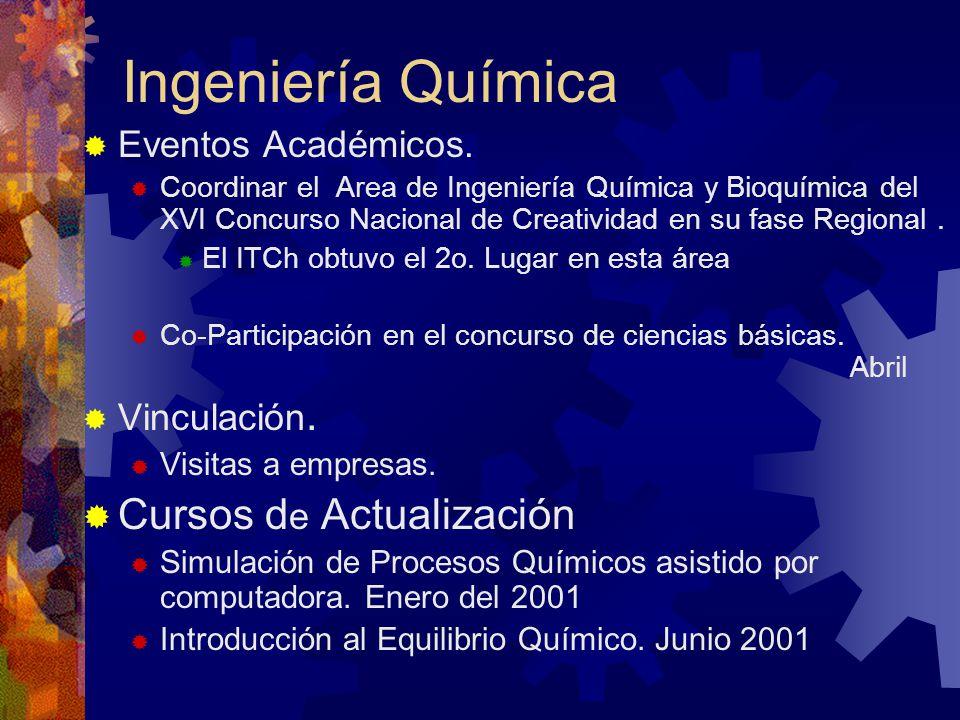 Ingeniería Química Eventos Académicos. Coordinar el Area de Ingeniería Química y Bioquímica del XVI Concurso Nacional de Creatividad en su fase Region