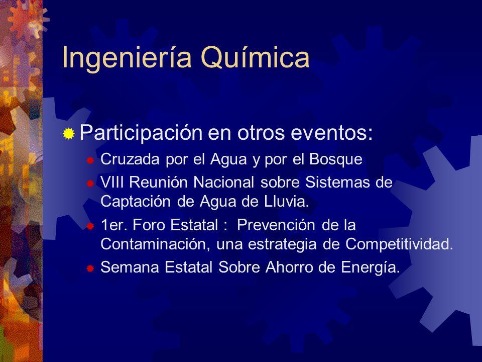Ingeniería Química Participación en otros eventos: Cruzada por el Agua y por el Bosque VIII Reunión Nacional sobre Sistemas de Captación de Agua de Ll