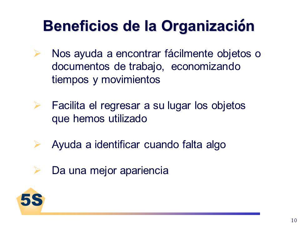 5S 10 Beneficios de la Organizaci ó n Nos ayuda a encontrar fácilmente objetos o documentos de trabajo, economizando tiempos y movimientos Facilita el