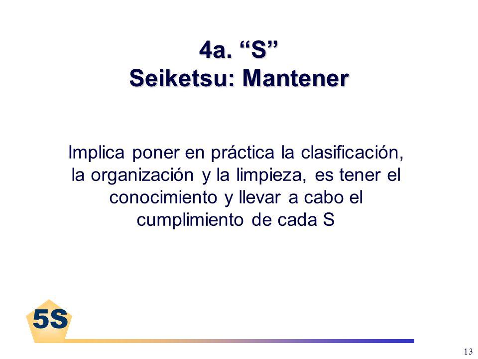 5S 13 4a. S Seiketsu: Mantener Implica poner en práctica la clasificación, la organización y la limpieza, es tener el conocimiento y llevar a cabo el