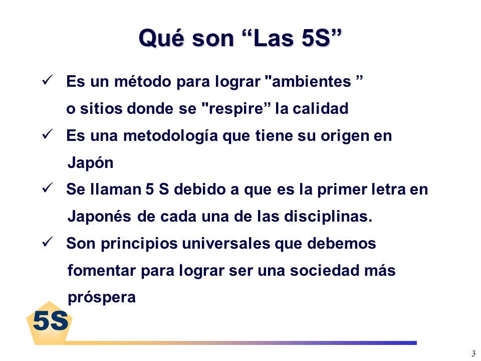 5S 4 Las 5S JaponésEspañolDirigido a: SeiriClasificación Los objetos y sitios SeitonOrganización SeisoLimpieza Seiketsu (Mantener) La propia persona Shitsuke Disciplina (Mejora Continua)