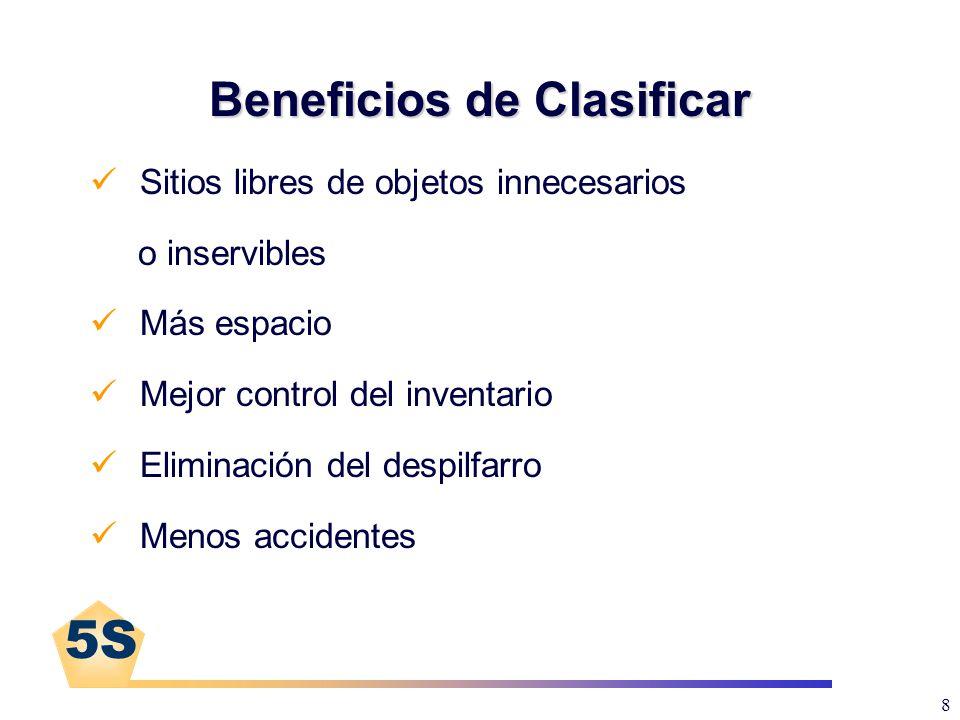 5S 8 Beneficios de Clasificar Sitios libres de objetos innecesarios o inservibles Más espacio Mejor control del inventario Eliminación del despilfarro