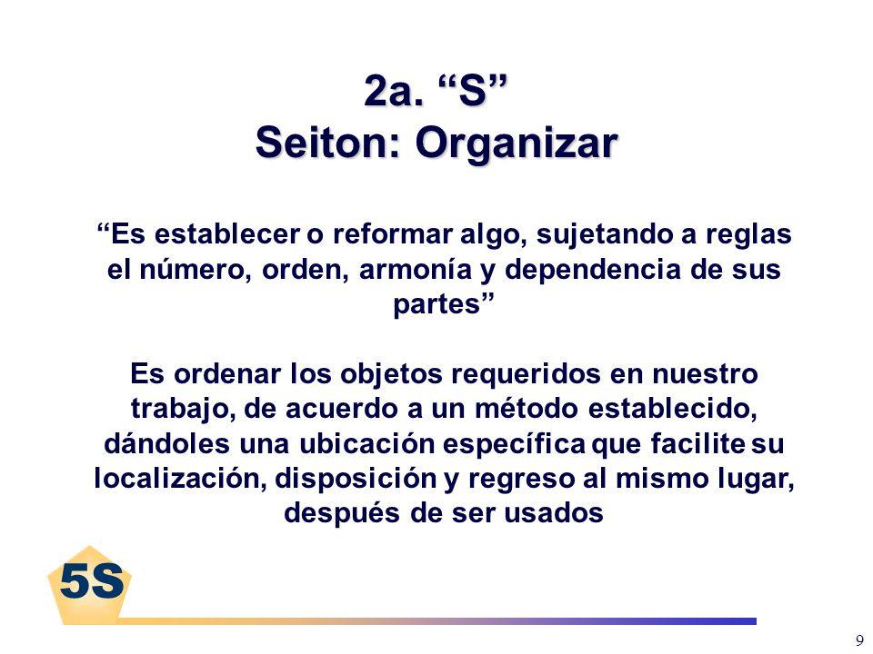 5S 9 2a. S Seiton: Organizar Es establecer o reformar algo, sujetando a reglas el número, orden, armonía y dependencia de sus partes Es ordenar los ob