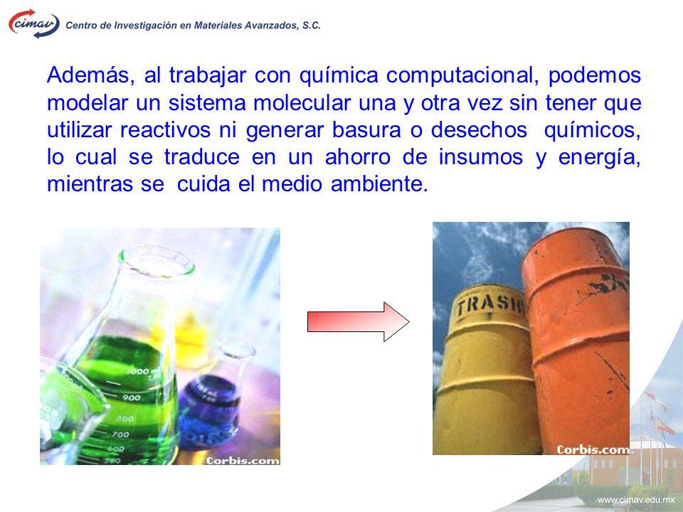Además, al trabajar con química computacional, podemos modelar un sistema molecular una y otra vez sin tener que utilizar reactivos ni generar basura