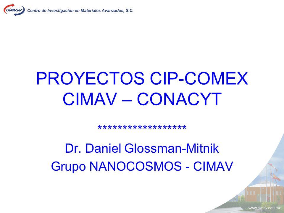 PROYECTOS CIP-COMEX CIMAV – CONACYT ****************** Dr. Daniel Glossman-Mitnik Grupo NANOCOSMOS - CIMAV