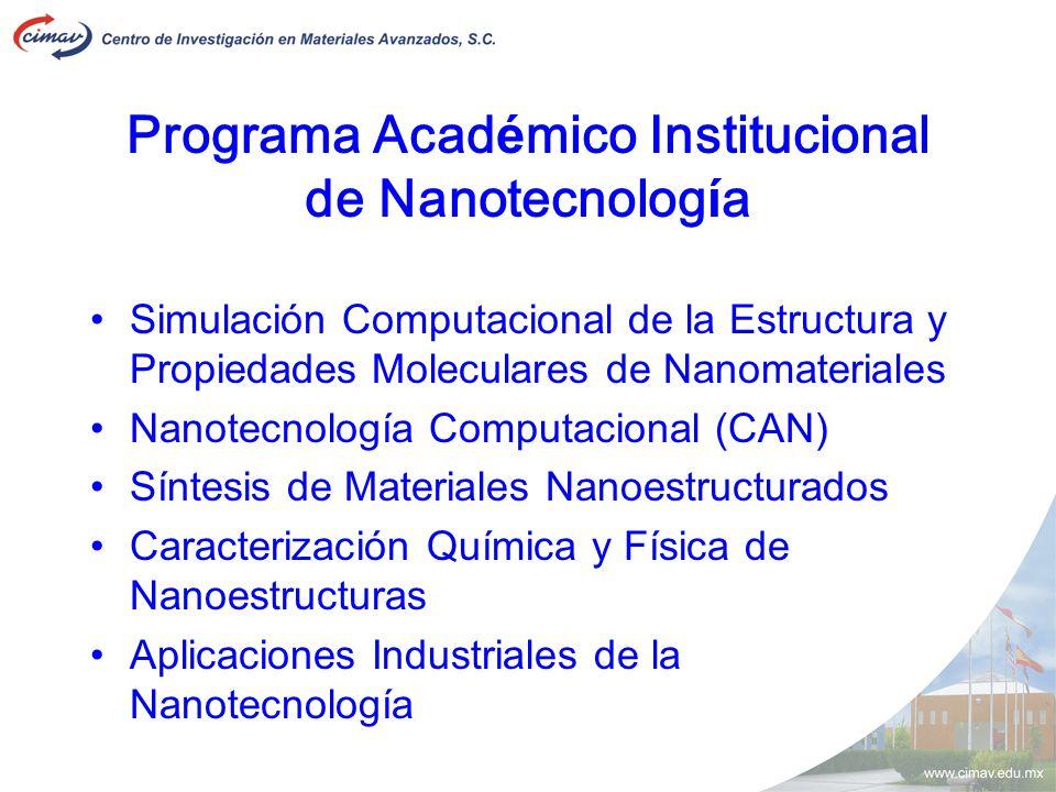 Programa Acad é mico Institucional de Nanotecnolog í a Simulación Computacional de la Estructura y Propiedades Moleculares de Nanomateriales Nanotecno